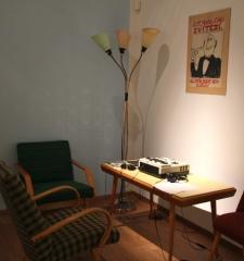 Music listening station, NYC installation view