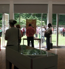Visitors to the exhibition at the Embassy of the Czech Republic